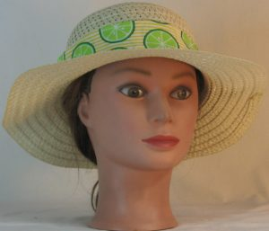 Floppy Hat Band in Lime Slices on Yellow White Stripe - front