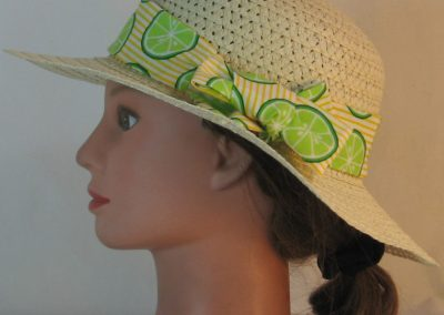 Floppy Hat Band in Lime Slices on Yellow White Stripe - left