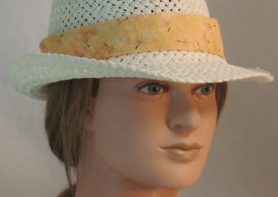 Fedora Hat Band in Dandelion Seeds on Peach - front