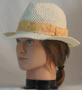 Fedora Hat Band in Dandelion Seeds on Peach - left