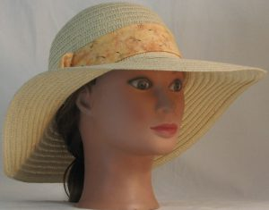 Floppy Hat Band in Dandelion Seeds on Peach - front right