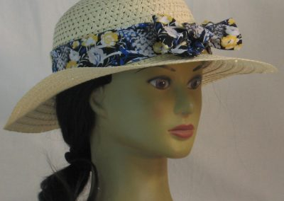Floppy Hat Band in Yellow White Flowers with Blue Gray on Black - front right