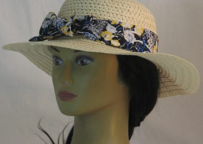 Floppy Hat Band in Yellow White Flowers with Blue Gray on Black - front left