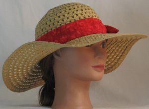 Floppy Hat Band in Red Curls Swirls on Red - front right