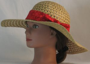 Floppy Hat Band in Red Curls Swirls on Red - front left