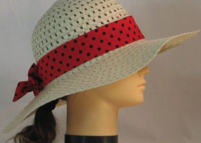 Floppy Hat Band in Rose Red with Black Polka Dots - right