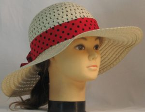 Floppy Hat Band in Rose Red with Black Polka Dots - front right