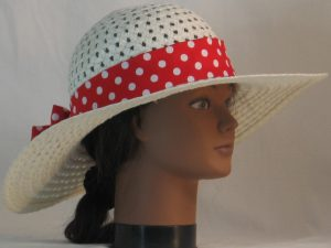 Floppy Hat Band in Red with White Polka Dots - right