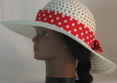 Floppy Hat Band in Red with White Polka Dots - left