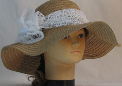 Floppy Hat Band in White Mesh Net - front right