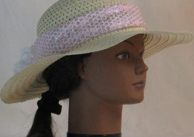 Floppy Hat Band in Pink Sequins on White Net with White Tulle - right