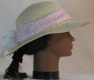 Floppy Hat Band in Pink Sequins on White Net with White Tulle - right alt