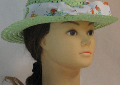 Floppy Hat Band in Bugs Insects in Blue Green Orange on White - front left