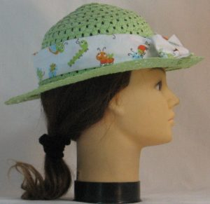 Floppy Hat Band in Bugs Insects in Blue Green Orange on White - right