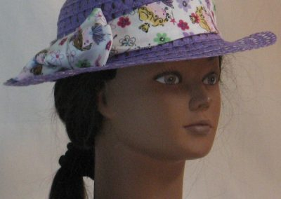 Floppy Hat Band in Pink Purple Ballerina with Flowers on White - front right