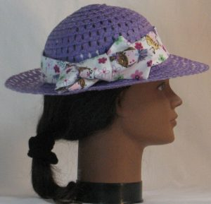 Floppy Hat Band in Pink Purple Ballerina with Flowers on White - right