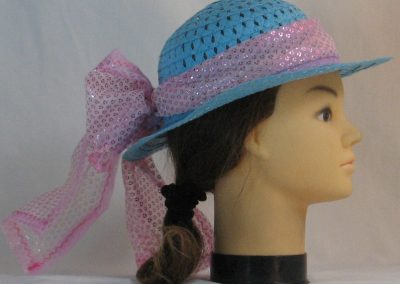 Floppy Hat Band in Pink Sequins on Tulle with Pink Tulle - right