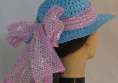 Floppy Hat Band in Pink Sequins on Tulle with Pink Tulle - back