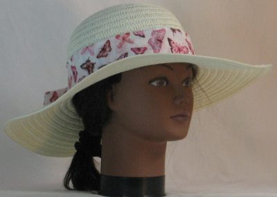Floppy Hat Band in Pink Butterflies on Pale Pink Motley - front right