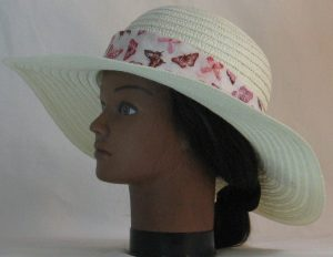 Floppy Hat Band in Pink Butterflies on Pale Pink Motley - left