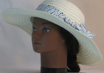 Floppy Hat Band in Blue Gray Star Waves on White - front left
