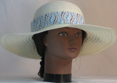 Floppy Hat Band in Blue Gray Star Waves on White - front