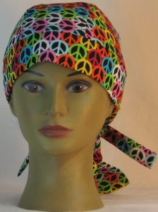Hair Bag Do Rag in Pink Blue Green Yellow Orange White Peace on Black- front