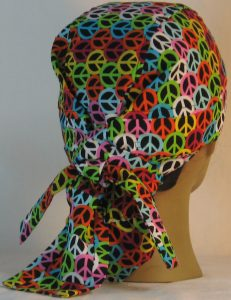 Hair Bag Do Rag in Pink Blue Green Yellow Orange White Peace on Black- back