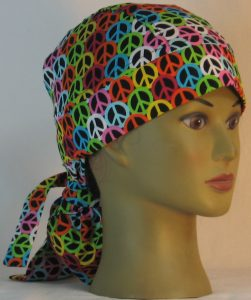 Hair Bag Do Rag in Pink Blue Green Yellow Orange White Peace on Black- right