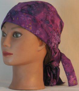 Hair Bag Do Rag in Lavender Flowers on Lavender Purple Navy Batik - left