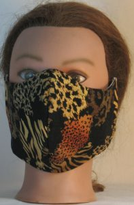 Face Mask in Wild Animal Prints in Black Browns - front