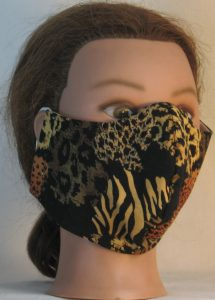 Face Mask in Wild Animal Prints in Black Browns - front right