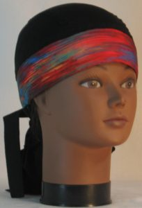 Hair Bag Do Rag in Red Blue Green Variegated Band Black Mesh Crown - front right