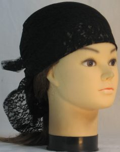 Head Wrap in Black Two Flower Lace - front right