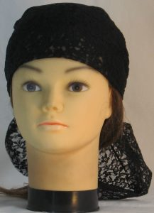 Head Wrap in Black Two Flower Lace - front