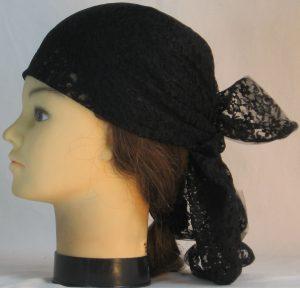 Head Wrap in Black Two Flower Lace - left