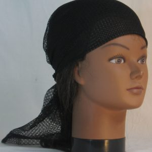 Head Wrap in Black Interlocking Small Circles Lace- front right