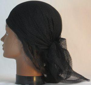 Head Wrap in Black Interlocking Small Circles Lace- left