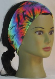 Headband in Rainbow 60s Tie Dye Swirl Knit - front right