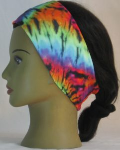 Headband in Rainbow 60s Tie Dye Swirl Knit - left