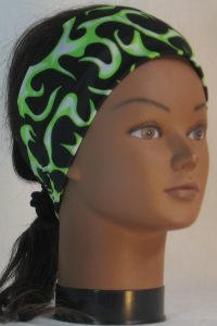 Headband in Lime White Flames on Black Knit - front right