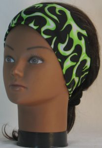 Headband in Lime White Flames on Black Knit - front left