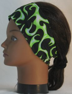 Headband in Lime White Flames on Black Knit - left