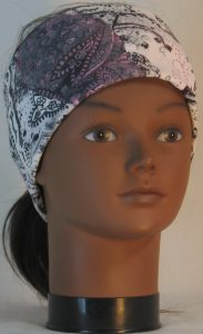 Headband in Pink Gray White Paisley Washed Out Look Knit - front
