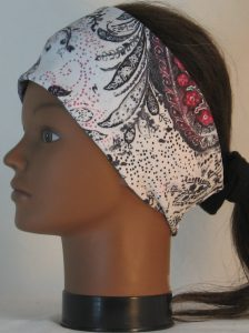 Headband in Pink Gray White Paisley Washed Out Look Knit - left