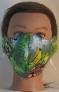 Face Mask in Goldfinch Chickadee Birds Field - front