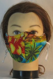 Face Mask in Hawaii Orange Flowers Palms on Turquoise - front