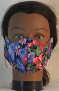 Face Mask in Pink Lily Purple Morning Glory Flowers - front