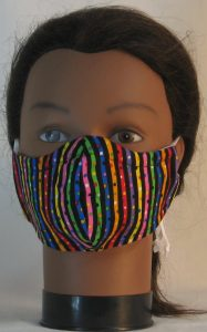 Face Mask in Bright Dotted Black Stripes - front