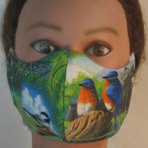 Face Mask in Eastern Bluebird Chickadee Birds Field - front